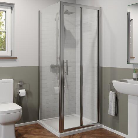 760 x 760mm Bi Fold Shower Door Enclosure Side Panel Framed 6mm Glass Stone Tray