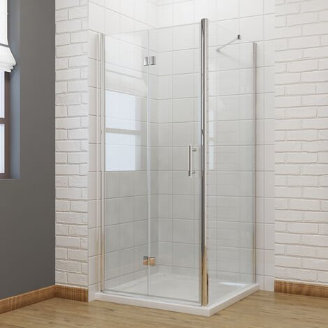 760 x 760mm Bifold Shower Enclosure Glass Reversible Folding Shower Cubicle Door with Shower Tray + Side Panel