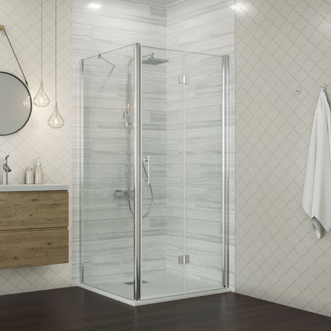 760 x 900 mm Bifold Shower Enclosure Glass Shower Door Reversible Folding Cubicle Door with Shower Tray + Side Panel