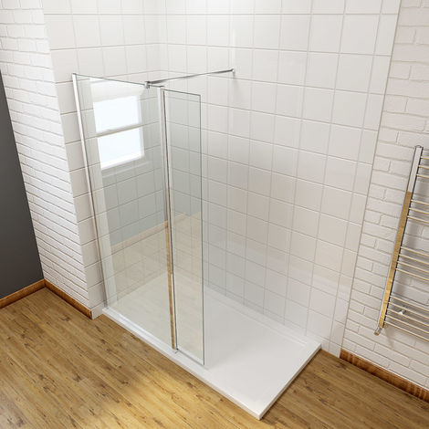 760mm Easy Clean Walk In Wetroom Shower Enclosure Panel 8mm Glass Screen with 300mm Flipper Panel