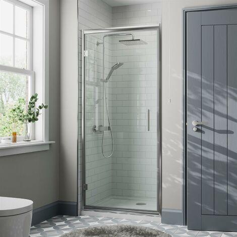 760mm Framed Hinged Bathroom Shower Door Enclosure Walk-In 8mm Safety Glass