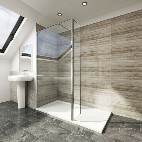 760mm Walk in Shower Screen Tougheded Safety Wet Room with 300mm Flipper Panel