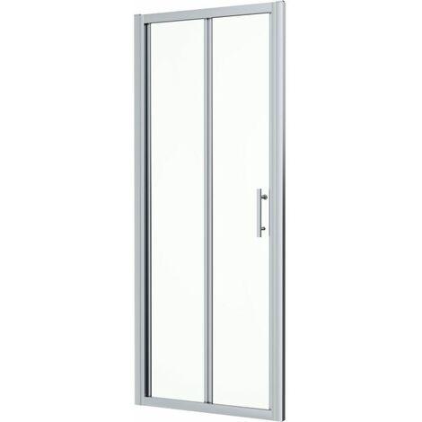 760mm x 760mm Bi Fold Shower Door Walk In Enclosure Framed 6mm Glass Stone Tray