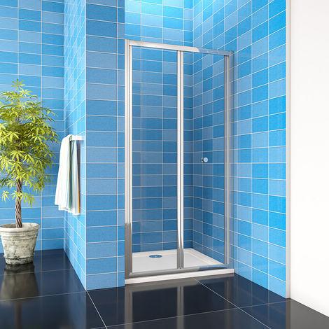 "main image of ""700/760/800/860/900/1000mm Bathroom Bi Fold Shower Door Enclosure Glass Screen"""