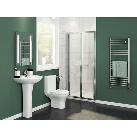760x1200mm Bifold Shower Enclosure Reversible Folding Glass Shower Cubicle Door with Shower Tray Set