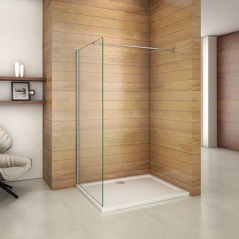 760x1850x6mm paroi de douche walk in verre anticalcaire avec barre fixation 360¡ã