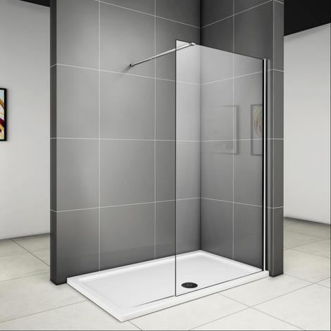 760x1950x6mm paroi de douche walk in verre anticalcaire avec barre fixation 1400mm