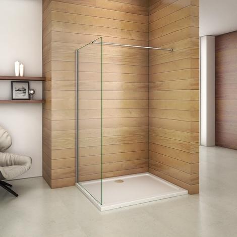 760x1950x6mm paroi de douche walk in verre anticalcaire avec barre fixation 900mm