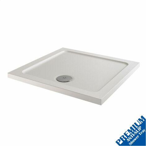 760x760mm Shower Tray Square Low Profile Premium Anti-Slip FREE High Flow Waste