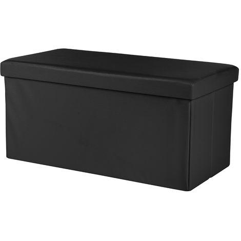 76x38x38CM Boîte de rangement Banc Coffre Tabouret pouf noir Banc pliable