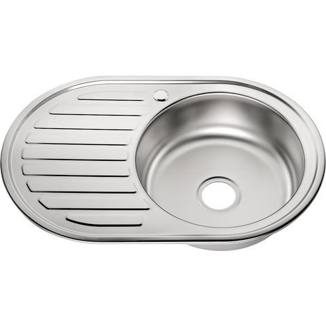 77cm évier en acier inoxydable bassin rond encastré + évier de cuisine étagère