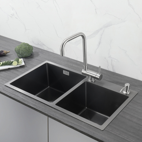 78 x 43 x 22 cm Black Double Bowl Stainless Steel Square Kitchen Sink