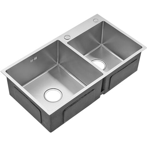 78 x 43 x 22 cm Double Bowel Stainless Steel Kitchen Sink Square Strainer Waste