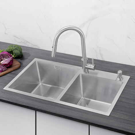78 x 43 x 22 cm Double Bowl Stainless Steel Square Kitchen Sink