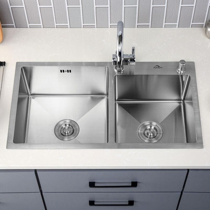78 x 43 x 22 cm Lavello Cucina 2 Vasche in Acciaio Inox Spazzolato con Set  di Scarico