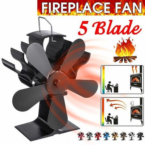 """7.87 """"1400RPM 250CFM 5 lames de ventilateur de poêle à feu alimenté par la chaleur écologique (noir)"""