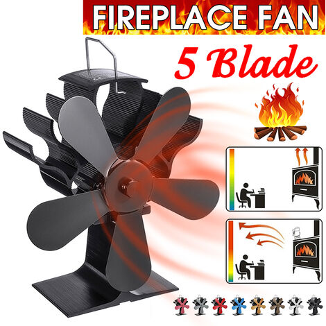 7.87 \'\' 1400RPM 250CFM Ventilador de estufa de fuego ecológico de 5 aspas con energía térmica (negro)