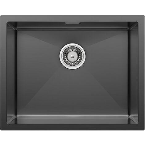 78x43 cm Lavello Cucina Nano Nero 2 Vasche in Acciaio Inox, Lavello Incasso Due Vasche, 2 fori di montaggio per rubinetto e distributore di sapone