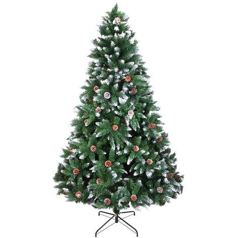 7FT/210cm Christmas Tree 1350 Branch Flocking Spray White Tree Plus Pine Cone Xmas Gift with Metal Stand