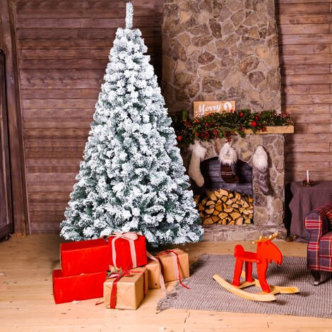 """main image of """"7ft 213cm Artificial Xmas Trees Christmas Tree Pvc Flocking 1300 Branches with Stand"""""""