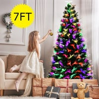 7ft Fiber Optic Artificial Christmas Tree LED Blossom Effects W/ Top Star UK
