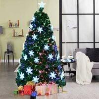 7FT Fiber Optic Green Fiber Optic Christmas Tree W/Top Star Snowflake LED