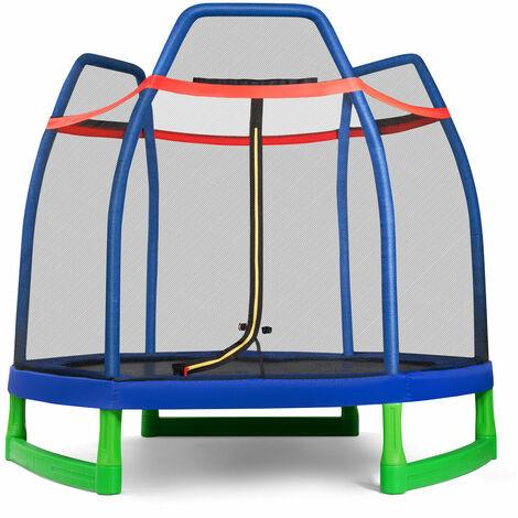 "main image of ""7FT Kids Trampoline Safety Jumper Rebounder Enclosure Net Indoor Outdoor Play"""