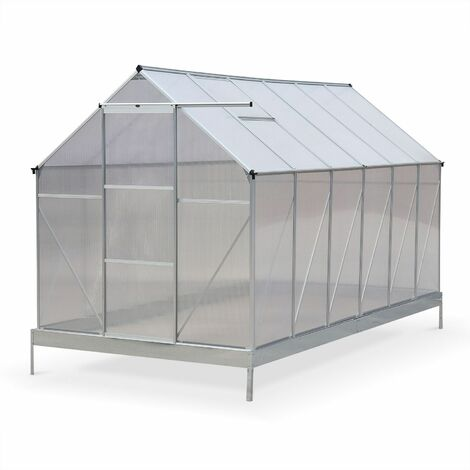7m² polycarbonate (4mm) greenhouse with base frame - Sapin - 2 skylights, gutter