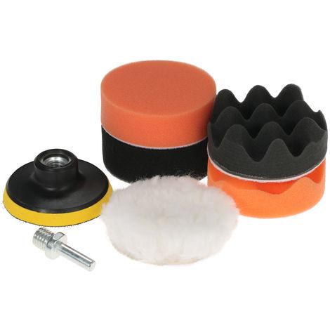 7PCS, Almohadillas de pulido del coche que enceran la esponja de pulido, con vastago