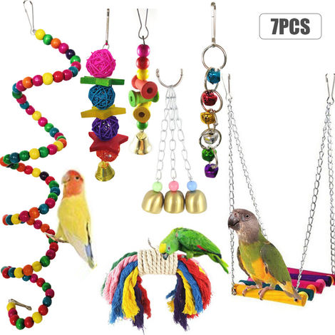 7PCS Bird Swing Chewing Toys Parrots Chewing Hanging Perches with Hammock Bell Toys