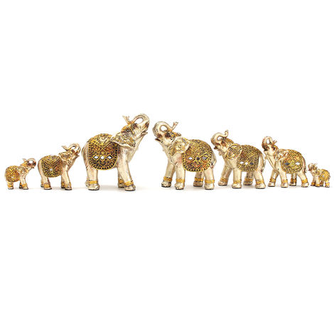 7Pcs Elephant Sculpture Resin Statue Mini Exotic Delicate Home Decoration Gifts No??L