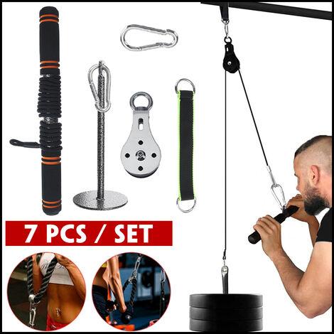 7PCS équipement de fitness multifonction tirer vers le bas système de poulie de levage entra?neur de rouleau de poignet