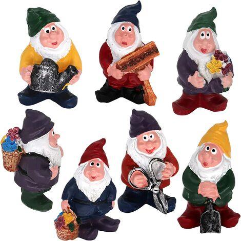 7pcs Gnomes Garden Decorations, Fairy Garden Accessories Collectible Figurines Miniature Gardening Gnomes Figurines Ornaments Dwarf Gnomes