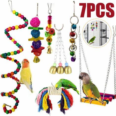 7pcs / set bird parrot hanging toys swing birdcage toys parakeet cockatiel parakeet