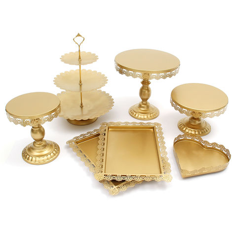 "main image of ""7pcs / set Cake Tray Mirror Superficie de metal Cake Holder Cupcake Stand Decoración Fiesta de bodas de cumpleaños"""
