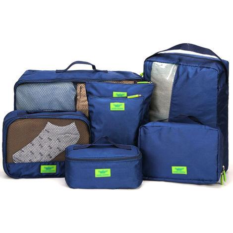 7Pcs / Set Multi-Sac Voyage Stockage Fonction Vetements Impermeables Tri Selectif Sacs Portables Partition De Bagages Organisateurs Mesh Pouch Device Item Numerique Cubes D'Emballage (Bleu)