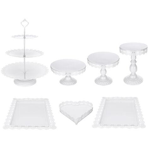 7Pcs/set White Cake Round Plate Stand Heart Display Tower Wedding Decor