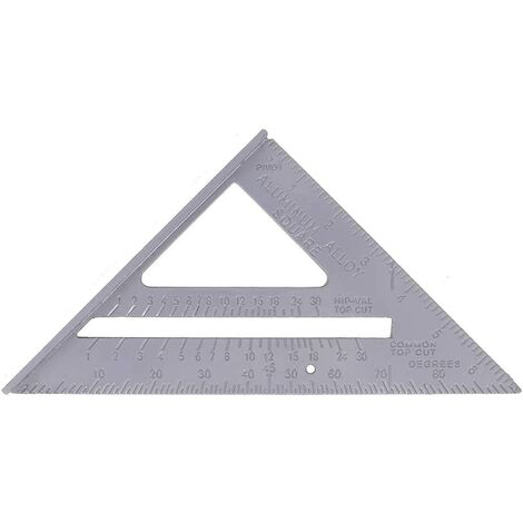 7Pouces Équerre Triangle Règle d'angle Equerre Menuisier Metrique Équerre de Charpentier en Pouces Comme Rapporteur Chanfrein Scriber Règle de Cadre Règle Droite - 180x180x256mm Argent