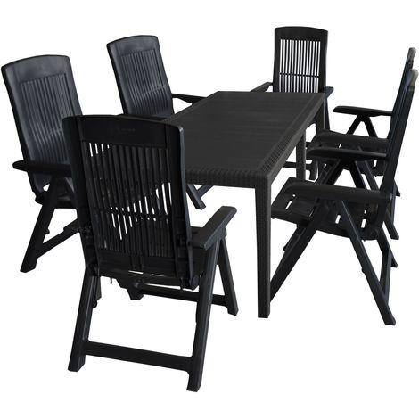 7tlg Sitzgruppe Gartentisch Erweiterbar 150220x90cm 6x