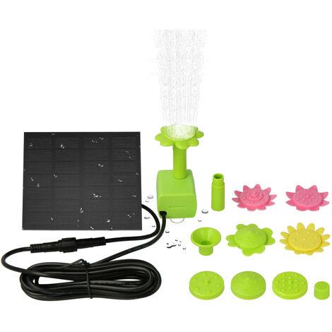 7V 1.4W de bomba solar Fuente con colorido flor tipo Boquillas con energia solar flotante del bano del pajaro con patas Fuentes fuente al aire libre Bomba de agua sin cepillo