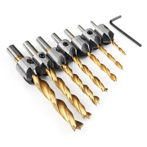 7x 3mm-10mm HSS Woodworking Drill Bits 5 Flute Milling Cutter Drill Bit Set Woodworking Hole Milling