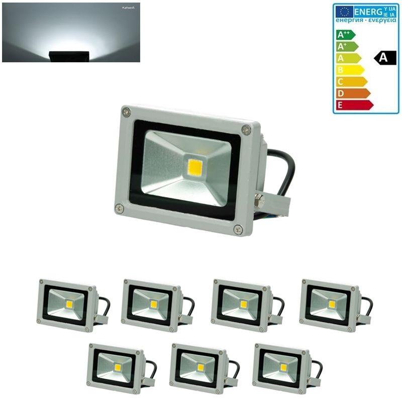 7x faro faretto proiettore lampada a LED 10W color bianco freddo da esterno - ECD GERMANY