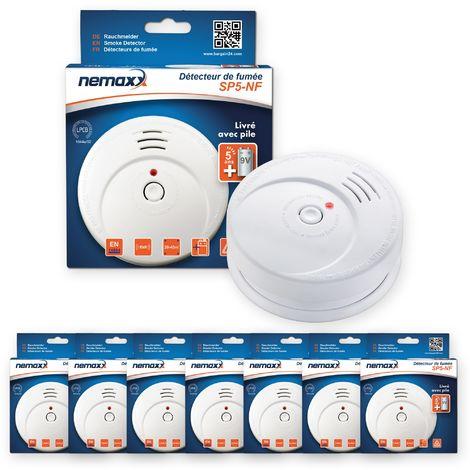 7x Nemaxx SP5-NF Detector de humo de alta calidad con pila incluida de 9V - Blanco