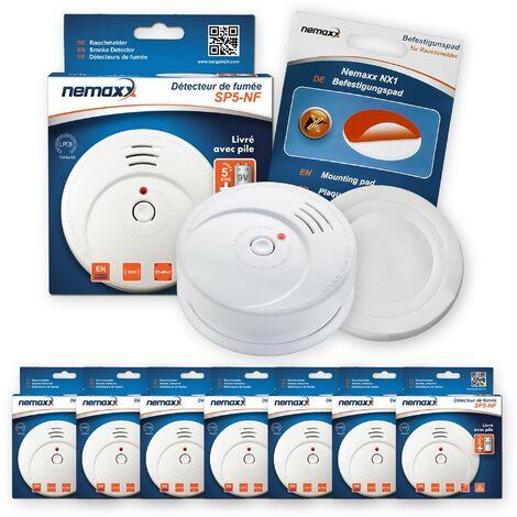 7x Nemaxx SP5-NF Detector de humo de alta calidad con pila incluida de 9V - Blanco + NX1 Pad de fijación