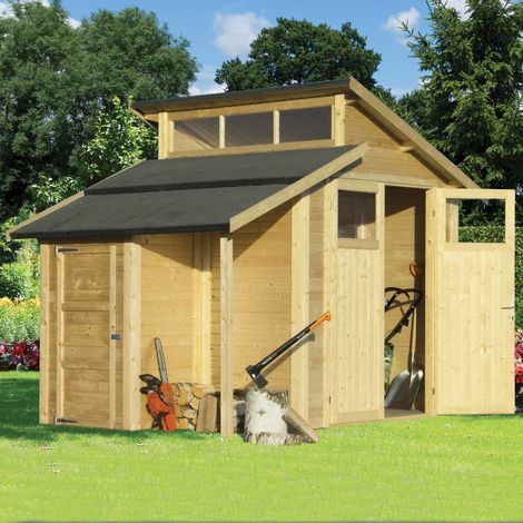 7x10 Skylight Shed with Store - Unpainted Natural