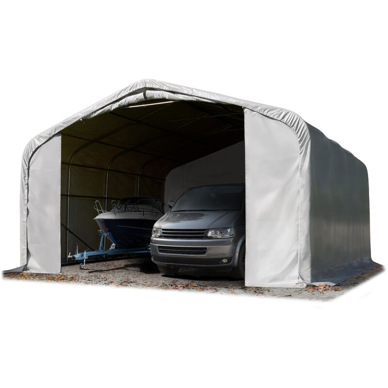 7x7m tente-garage de stockage, porte 5,0x2,9m, toile PVC d'env. 550 g/m²