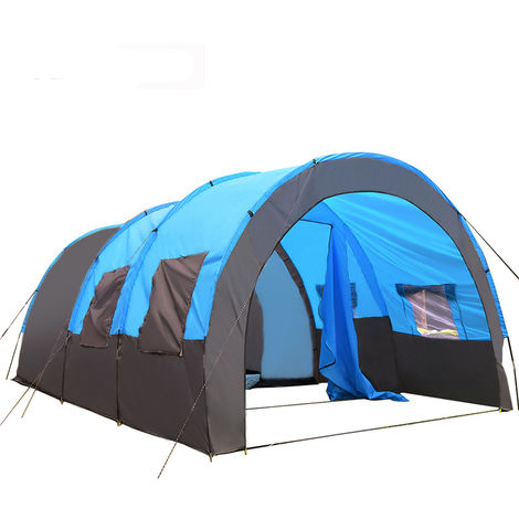 8-10 Person Waterproof Camping Tent Super Large Room Portable Shelter Outdoor Blue Hasaki