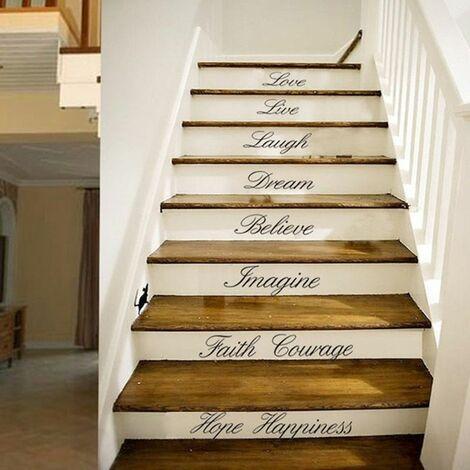 8/16 pièces escalier Stickers muraux mot amovible décalcomanie maison décoration murale Art bricolage 40x60 lettres noires décor à la maison