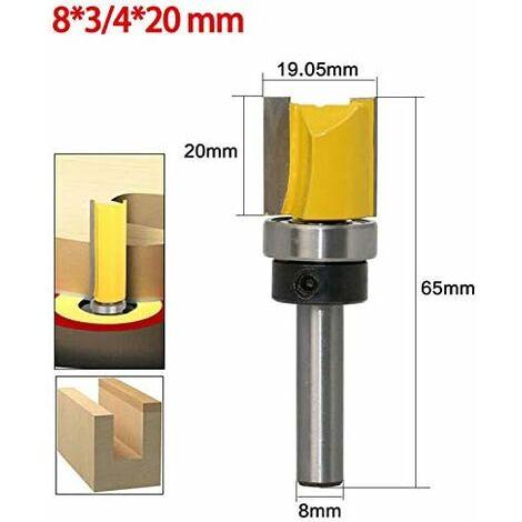 (8 * 3/4 * 20mm) jaune- Fraise à copier défoncer,fraise droite queue 8 mm de copiage serie,pour faire à la main un tiroir ou autre travail du bois