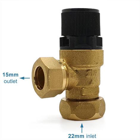 8 Bar Offset Nut Metal Expansion Pressure Relief Valve 95607028 - Alternative to: Heatrae Sadia